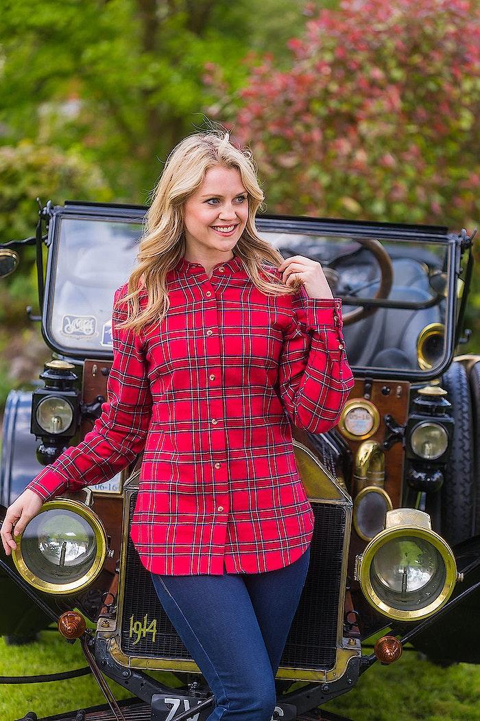 a0f1530519 Buy a women s red tartan cotton flannel grandad shirt from Irish ...