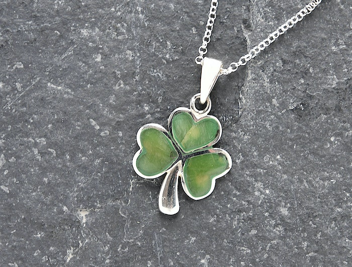 Buy A Green Connemara Marble Shamrock Silver Necklace From