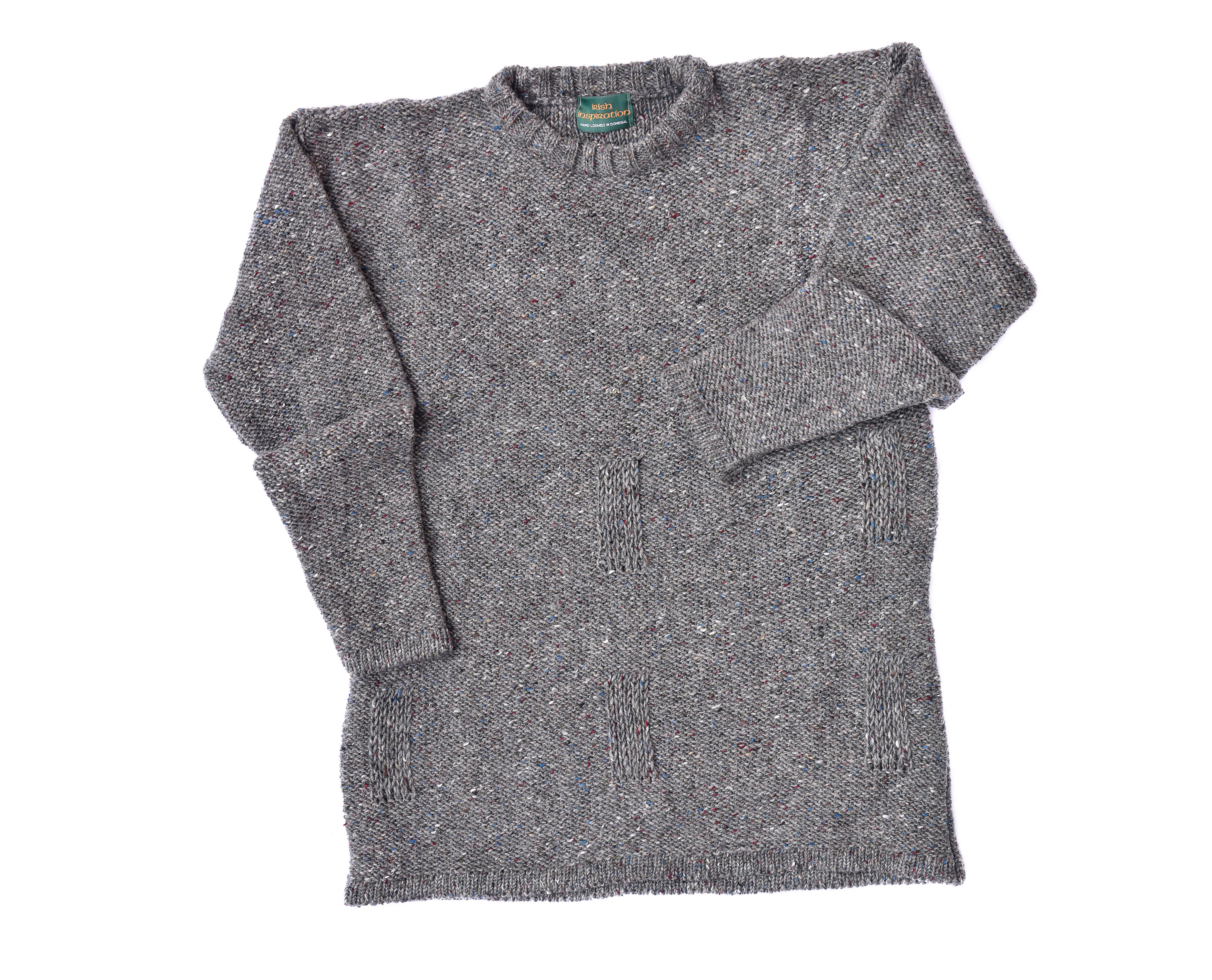 Men's Irish all wool sweater with crew neck knitted from