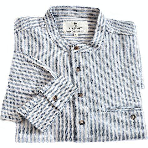 af444ccc03 Irish Collarless Brushed Cotton Grandad Shirt - Navy/Ivory Stripe