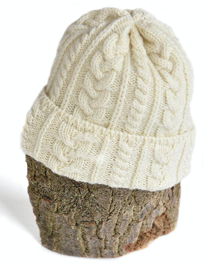 b8184ede677 Kerry Woollen Mill Cable Stitch Beanie Hat - Cream