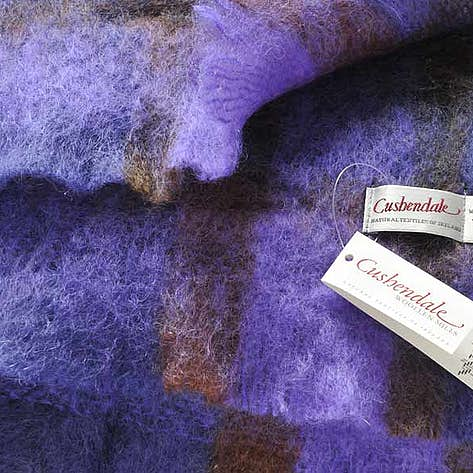 Cushendale Brushed Mohair And Wool Throw Purple Check